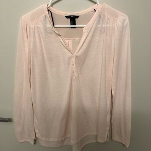 Long Sleeve Light Pink Button Front Peasant Top